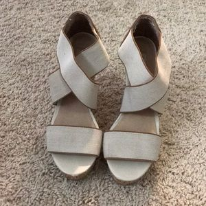 Steve Madden brown and tan wedges with cork heel